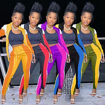 Fall Zip Patchwork Top Sweatpants Joggers Outfit Matching Set KSN-8066
