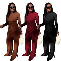 Women Threaded Long Sleeve O-neck Top Loose Pants 2 Piece Set MYP-8954