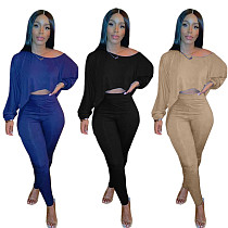 High Quality Rib Solid Color Bat Sleeve Crop Top Leggings Outfit MYP-8955