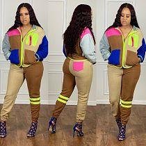 Color Block Splicing Long Sleeve Zipper Jacket Pants Tracksuit LSL-6407
