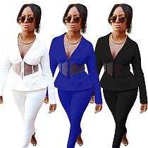 Women's Full Sleeve Blazers Pencil Pants Suit Two Piece Set MEM-8318