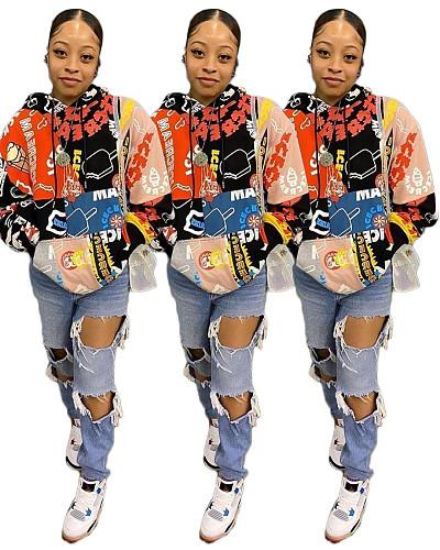 Graffiti Full Print Long Sleeve Hip Hop Loose Hoodie Sweatshirt DAI-8307