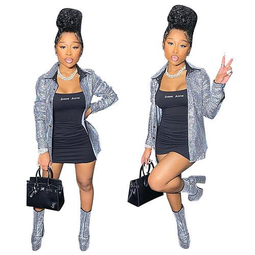Women Elegant Sequin Long Sleeve Glitter Cardigan Outerwear OSS-21023