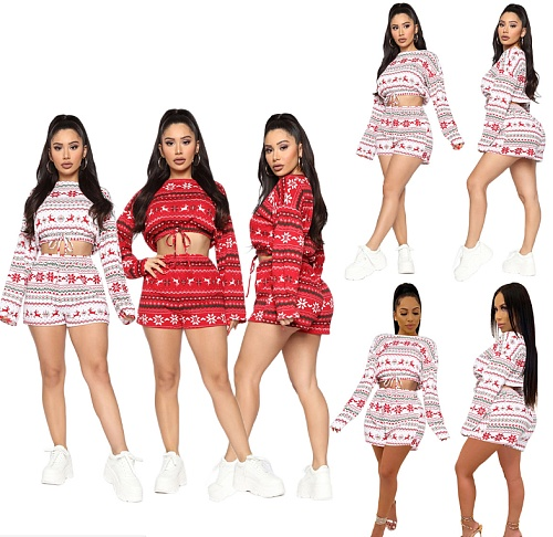 Christmas Print Long Sleeve Belly-button Top Shorts 2 Pieces SHE-7954