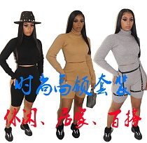 Women Solid Ribbed Turtleneck Full Sleeve Top Shorts Outfits WM-930