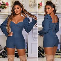 Women Low cut Bodycon Tunic Long Sleeve Denim Jeans Romper LX-6879