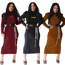 Fashion Lantern Sleeve Mini Top Split Dress Two-piece Set BLX-7547