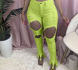 Women Fashion Trendy Stretch High Waist Ripped Jeans LSL-6391