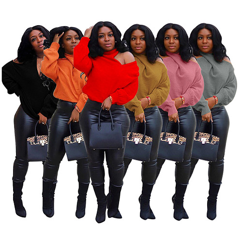 Fall Women Off Shoulder Long Sleeve V-neck Pullover Sweater WSM-5123
