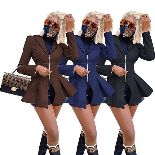 Women PU Leather Lapel Collar Long Sleeve High Wait Tunic Coat WZ-8347