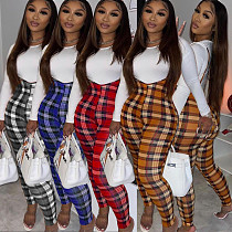 Fall White Long Sleeve Top Plaid Jumpsuit Lounge Wear Matching Sets CL-6101