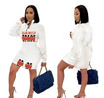 Offset Print Zipper Stitching Long-sleeved Slim Waist Dress DD-8068