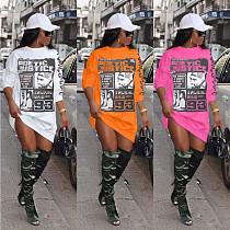 Women Casual Print Long Sleeve Loose Sweatshirt Dress CH-8136