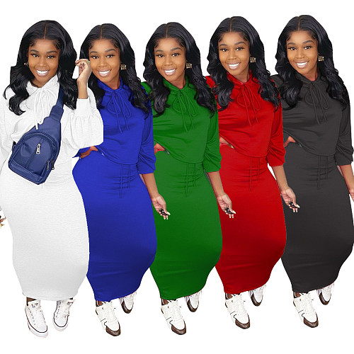 Solid Color Long Sleeve Hoodie Bodycon Dress Two-piece Outfit LUO-6376