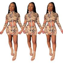 Women's Graffiti-printed Long Sleeve Front Zipper Bodycon Dress YIY-5255