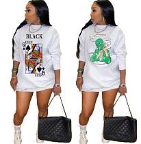 Fashion Print Long Sleeve Round Neck Loose Fitting Sweatshirt Dress KY-3046