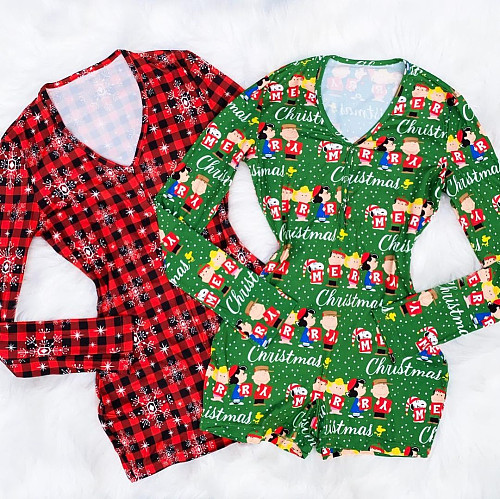 Women Christmas Print Long Sleeve Nightwear Bodycon Onesies CY-2188