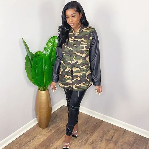 Camo Printed Single-breasted PU Leather Spliced Long-sleeve Jacket LP-6263