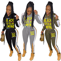 Street Letter Stitching Long Sleeve Hoodie Sweatpants 2 Pieces OD-8338