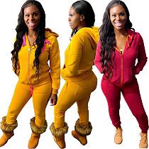 Women Solid Color Hooded Zip Top Skinny Pants 2 Piece Set CQ-093