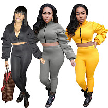 Solid Color Stacked Sleeves Zip Crop Top Leggings 2 Piece Outfit LSL-6202