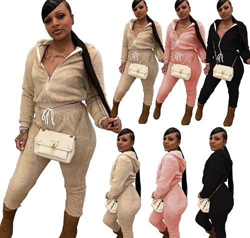 Loose Solid Plush Full Sleeve Zipper Tops Pants Streetwear Set CQ-091