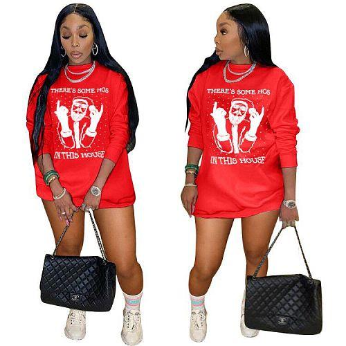 Santa Claus Print Loose O Neck Long Sleeve T-shirt Mini Dress AWY-709