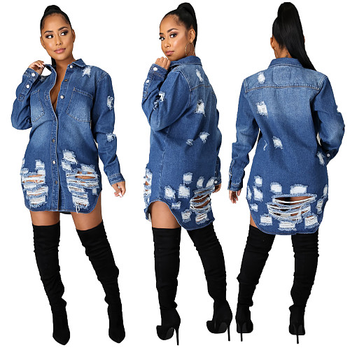 Autumn Plus size Ripped Long Sleeve Slim-fit Denim Coat LX-6046