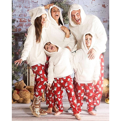 Christmas Plush Hooded Two piece Parent-child Outfit Set SN-8444