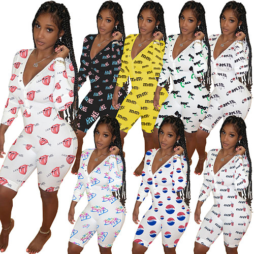 Women Pjamas Set Long Sleeve Print V-neck Bodycorn Onesies WY-6740