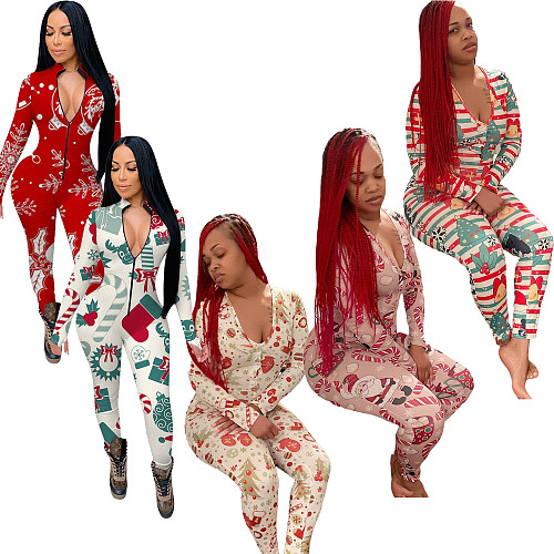 Christmas Print Sexy Long Sleeve Button Up Sleepwear Jumpsuit CHY-1308