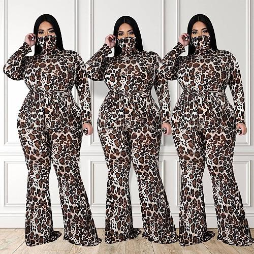 Leopard Print Long Sleeve High Waist Jumpsuit Without Mask HZM-7137
