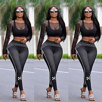 Mesh Spliced Long Sleeve Crop Top Skinny Pants 2 Piece Outfit YZL-818