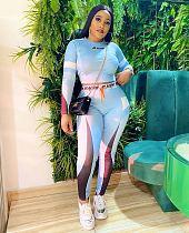 Women Long Sleeve CropTop Leggings Slim Outfit Tracksuit QIY-5016
