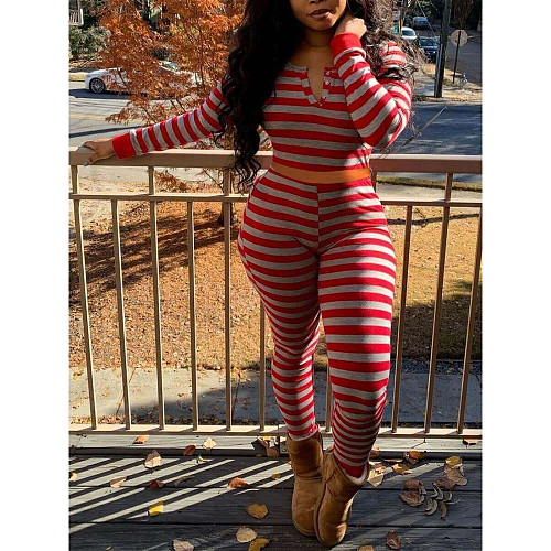 Fashion Christmas Stripe Print Long Sleeve Top Pants Outfit HGL-1590