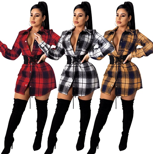 Winter Vintage Plaid Long Sleeve Shirt Mini Dresses With Waist Seal ZS-0372