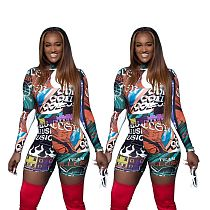 Street-print Long Sleeve Bodycon T-shirt Shorts 2 Piece Outfit YSF-467