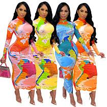 Sexy World Map Printed Long Sleeve Slim Bodycon Maxi Dresses SFY-218