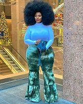 Women Tie Dyed Print High Waist Bell-Bottoms Trousers DM-8163