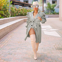 Women Winter Long Sleeve Lapel Single-breasted Long Trench Coats YIS-527