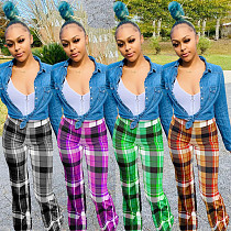 Women Plaid Print Mid Waisted Casual Flare Pants MOY-8306
