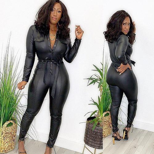 Women's Sexy Long Sleeve Black PU Jumpsuit with Buckle Belt OD-8414