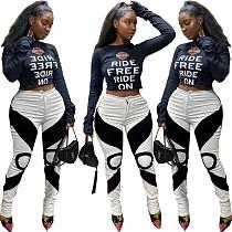 Autumn Women Hipster Printed Mid-waist Skinny Slacks FNN-8575