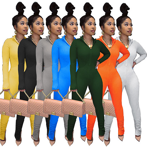 Women Solid Color Long Sleeve Front Zipper Bodycon Jumpsuit BNY-7146