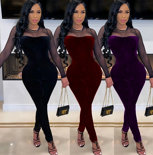 Solid-color Mesh Spliced Zip-up Nightclub Bodycon Jumpsuit MEI-9137