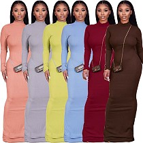 Fashion Solid Color Long-sleeved Floor-length Bodycon Dress FSX-262