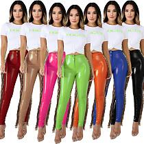 Women High Elastic Stitching Sequins Tassel PU Leather Pants LA-3241