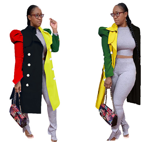 Women  Matching Color Bubble Sleeve Long Windbreaker Coat SD-1299
