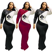 Fall Spades Q Print Long Sleeve Slim Waist Floor-length Dress YFS-3555
