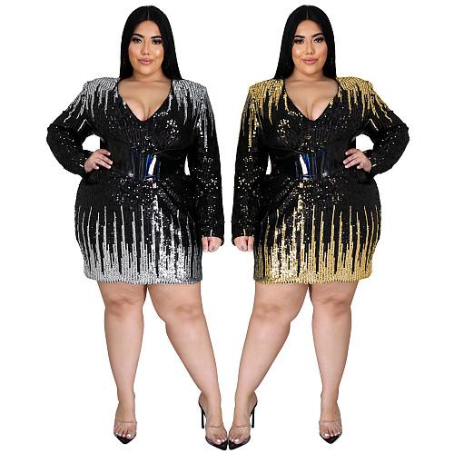 Plus-size V Neck Long Sleeve Back Zipper Sequin Dresses XQY-1411